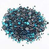 Hot-Fix Rhinestones Mix Size cristales brillantes Strass Flatback pegamento adhesivo en las piedras de hierro en diamantes de imitación para ropa, color azul, ss10 1440 piezas
