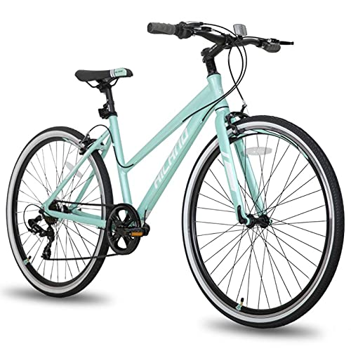 SHTST Bicicleta de Viajero de 700C 7 de 7 velocidades, 6061 aleación de Aluminio Viajes Ciudad Femenina Bicicleta (Color : Green)
