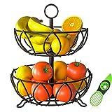 Forlogic Tazón de cesta de frutas y verduras de 2 niveles con rebanador extra de aguacate para mostrador de cocina, mesa de comedor (negro, acabado a prueba de herraje)