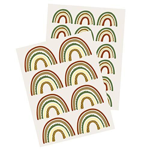 Yabaduu Y004 - Adhesivo decorativo para pared, diseño de arcoíris para habitación infantil, color verde y marrón