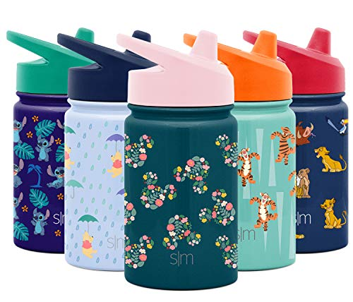 Simple Modern Disney Water Bottle for Kids Reusable Cup with Straw Sippy Lid Insulated Stainless Steel Thermos Tumbler for Toddlers Girls Boys, 10oz, Mickey Mouse Floral (Riptide)