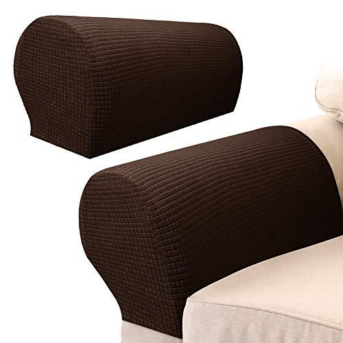 2Pcs Armlehnenschoner Sofa,Armlehnenbezüge für Sofa Elastische Universal für Sessel Abdeckung Hussen für Armlehnen von Sofa Couch dehnbares Gewebe für Möbel (Braun)