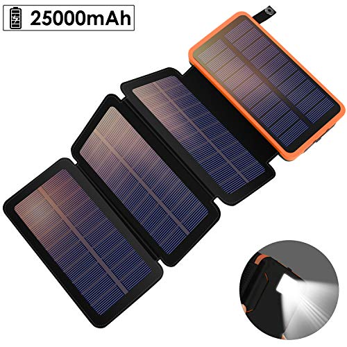 YELOMIN Solar Powerbank 25000mAh draagbare oplader op zonne-energie, met 4 zonnepanelen, outdoor waterbestendige externe accu met 2 USB-poorten voor iPhone, Samsung, Android en tablet, camera enz.
