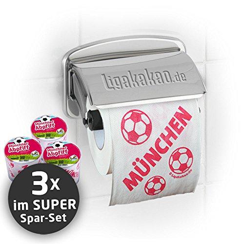 Klopapier Münchner Abpfiff (3 Rollen XL-Sparpack)| Dieses Toilettenpapier Macht das Klo von S04-, Dortmund- & Fußball-Fans zur Bayern-Kultschüssel | Geschenkidee für Männer & Freunde