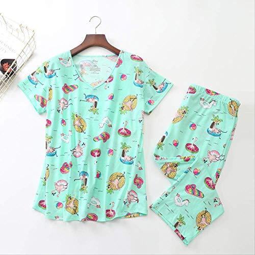 Pijamas de Manga Corta de algodón de Punto de Talla Grande para Dormir Pijamas de Cuello Redondo para Mujer Pantalones hasta la Pantorrilla Pijama Mujer Ropa de Dormir para Mujer XXXL