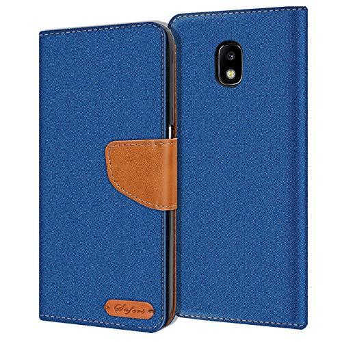Conie Samsung Galaxy J7 2017 J730 Hülle für Galaxy J7 2017 J730 Tasche, Textil Denim Jeans Look Booklet Cover Handytasche Klapphülle Etui mit Kartenfächer, Blau