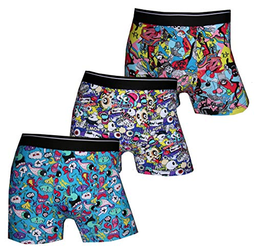 Pesail Psychedelic Acid Trip Top Boxershorts 3er Pack, Größe X-Large (XL), Farbe je 3X Mix