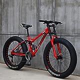 Bicicletas de Montaña de 26 pulgadas, Bicicleta de Montaña de Neumáticos de Grasa para Adultos, Bicicleta de 21 Velocidades, Freno de Disco de Suspensión Total con Marco de Hierro (rojo)