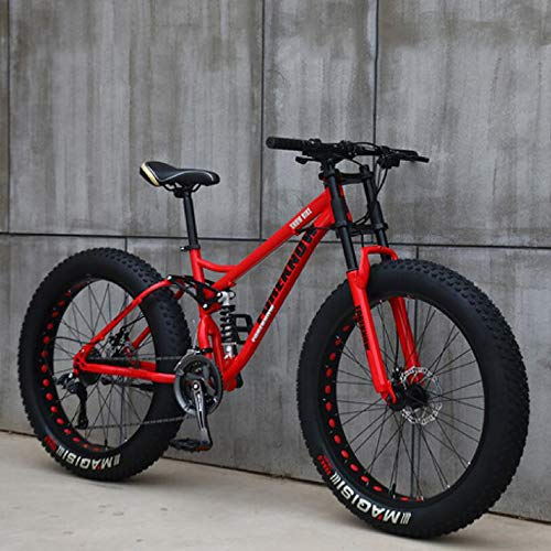 Wind Greeting 26' Mountain Bikes,Adult Fat Tire Mountain Trail Bike,24 Speed Bicycle,High-carbon Steel Frame Dual Full Suspension Dual Disc Brake (Red)