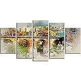 WANGZHONG 5 Piezas Cuadro sobre Lienzo.Pintura Rupestre del Puente De La Casadecoracion Salon Grandes Cuadros para Dormitorios Modernos Mural Pared 60X32Inch/150X80Cm(con Marco