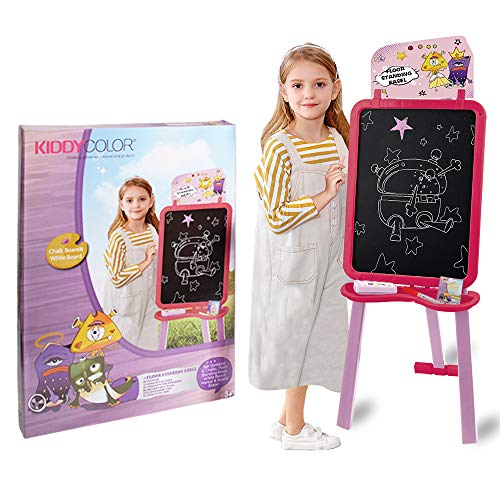 KIDDYCOLOR Art Easel for Kids Painting Easel Double Side Whiteboard Chalkboard Floor Stand Easel for Kids Easy Storage