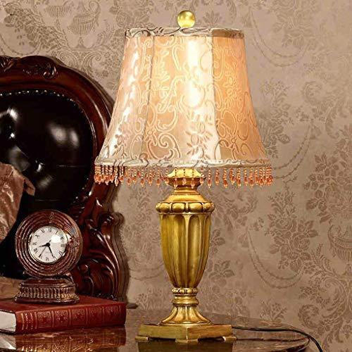 JKUNYU Lámparas de mesa, personalidad simple Continental lámpara de cabecera, Dormitorio estar minimalista moderna decorativo de la sala de tabla enciende la lámpara creativa, regulable retro Covers E