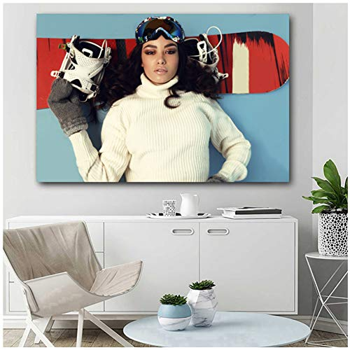 Brown Eyes Brunette Girl Snowboarding Woman Sport Posters and Prints Canvas Wall Art Paintings for Living Room Decor -60x90cm No Frame