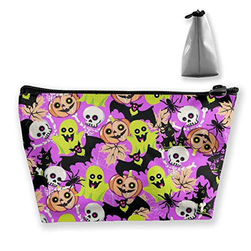 Organizador de Bolsas de cosméticos trapezoidales con Imagen sin Costuras de Halloween, Bolsa portátil Impermeable para Mujeres Que lle