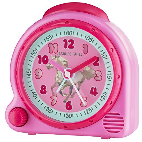 JACQUES FAREL HappySound Kinderwecker pink mit Sound Pferde Galopp und Wiehern, Lautstärkeregelung AVC 03HOR