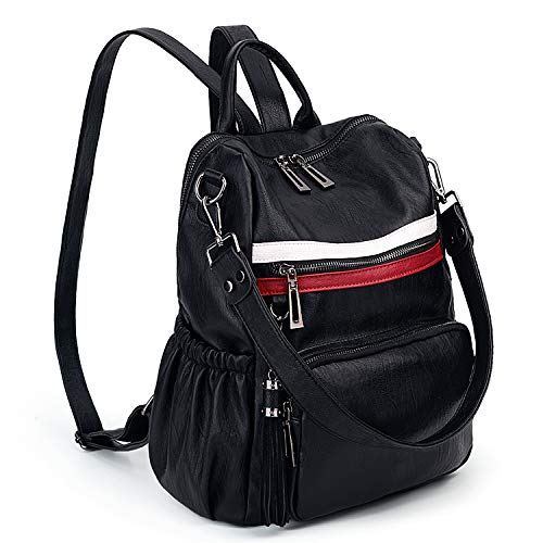 UTO Women Backpack Purse PU Washed Leather Convertible Ladies Rucksack Tassel Zipper Pocket Shoulder Bag Black