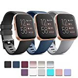 Pack 3 Soft Silicone Bands for Fitbit Versa 2 / Fitbit Versa/Fitbit Versa Lite Classic Adjustable Sport Bands for Women Men Small Large(Without Tracker) (Small, Black+Blue+Grey)