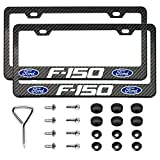 2pcs License Plate Frames for F-150 - 2 Holes Premium Black Stainless Steel Carbon Fiber Ford-150 Logo License Plate Cover Holder Compatible All Vehicle License Plate Tag Cover