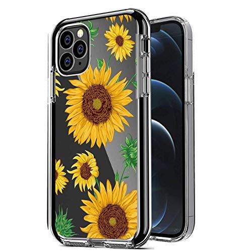 Carcasa transparente para iPhone 12 Pro Max, diseño de girasoles para niñas y mujeres, con forro de goma suave para iPhone 12 Pro Max 6.7 pulgadas (amarillo girasol)