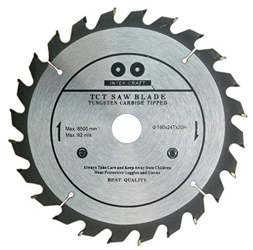 Inter-Craft 160mm Sägeblatt Top Qualität Kreissägeblatt für Holz 160 x 20mm 24 Zähne