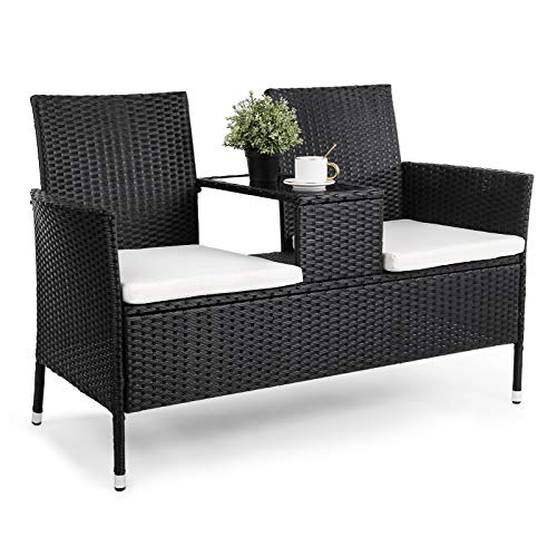 YOUNIS Wicker Patio Conversation Furniture Set, 2 Seater Outdoor Rattan Loveseat with Cushions & Built-in Table, Modern Patio Furniture Set Wicker Rattan Sofa Set for Garden Lawn Backyard Poolside