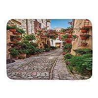 NIESIKKLA バスマット、晴れた日のウンブリアの歴史的な地中海の通りの花イタリアの町、マット滑り止め ソフトタッチ 丸洗い 洗濯 台所 脱衣場 キッチン 玄関やわらかマット 45 x 75cm