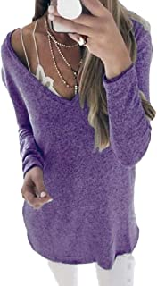 desolateness Womens' V Neck Long Sleeve Loose Baggy Jumper Tunic Tops Pullover Sweater