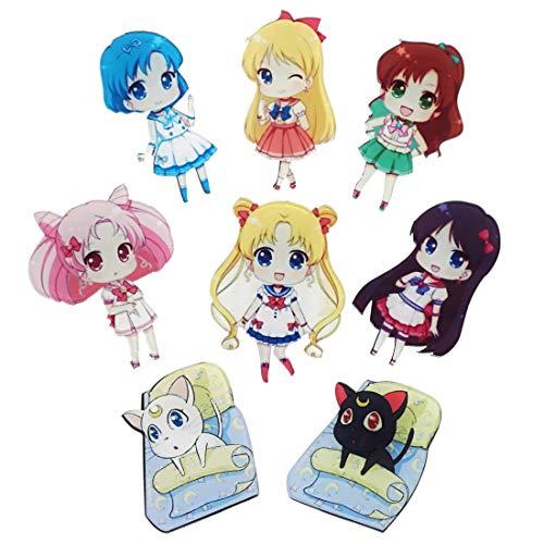 CoolChange Sailor M. 8 Kühlschrank Magneten mit Chibi Figuren der Sailor Kriegerinnen, Luna & Artemis