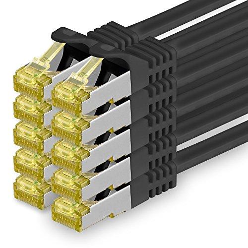 1aTTack.de Cavo di Rete Ethernet LAN Cat.7 SFTP Spina RJ45 Cat6a Doppia schermatura 10000 Mbit/s Compatibile con Cat5 Cat6 Cat6a Cat8 per Switch Router Modem Patchpanel Nero / 10 pz 1,5m