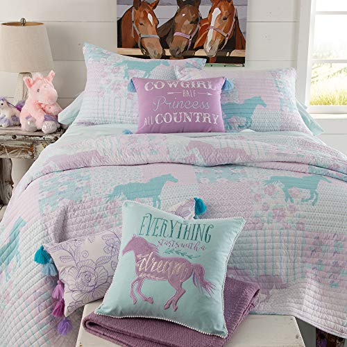 Rod's Cowgirl Princess Bed in a Bag Twin Western Reversible Pony Pastel Horses and Floral Quilt. with Pink and Blue Colors and Square Patterns.