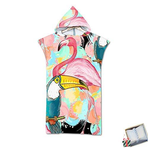 Morbuy Poncho con Cappuccio, Compatto Asciugamano per Cambiarsi con Microfibra Assorbente, Tasca Larga per Spiaggia, Nuoto, Surf, Donne & Uomini (75 * 110cm,Fenicottero Rosa)