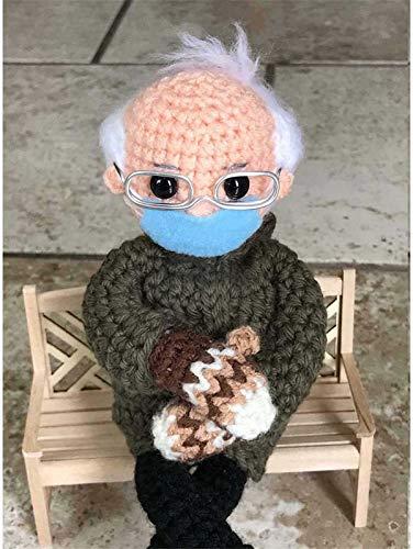 puhuoqi Bernie Sanders Fäustlinge Puppe Häkelanleitung 100% Handgefertigte Gestrickte Strickhäkelarbeit Plüschtier Gefüllte Figur Puppe Geschenk