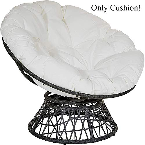 MSM Furniture Overstuffed OVERSIZED Waterproof Chair Cushions,Round Thicken Papasan Chair Pad,Outdoor Swing Hanging Egg Seat Cushion White Diameter:70cm/28inch