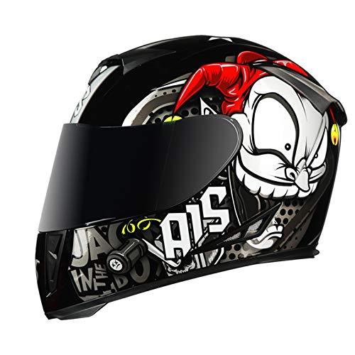 LVYE1 MRMF Casco Moto Bluetooth Integrado, Cascos De Moto Scooter con Doble Anti Niebla Visera Casco Integral ECE Homologado para Mujer Hombre Adultos Casco De Moto Integral,A,XXL