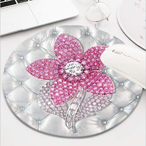 Ydset Bling Pink Rose on White Print Custom Mouse Pad Waterproof Material Non-Slip Rubber Round Mouse Pad(7.8x7.8x0.08inch) for Office Desktop or Gaming Mouse Mat Keyboard Pad