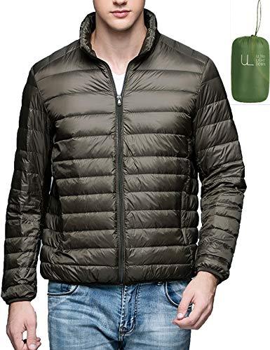 Men's Ultralight Packable Stand Collar Down Jacket Puffer Down Coats Army Green