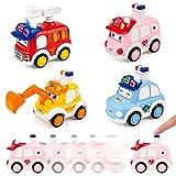 ZWOOS Coches de Juguete para Niños Pequeños 4PCS Figuras Coches Vehículos De Juguete Coches Camiones para bebés 1 2 3 4 años de Edad (A)