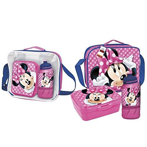 Cerdá - Portameriendas Termico con Botella Infantil y Tupper para Niños de Minnie Mouse - Licencia Oficial Disney Studios®