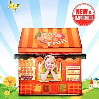Kids Play House Tent - Indoor Children Pretend Playhouse w/16 Fruits + Doorbell - Best Birthday Gifts for Girls/Boys/Toddlers
