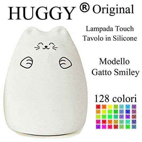 Huggy Led Multicolore Ricaricabile Cromoterapia Luce Notte Bambini Gatto Smiley
