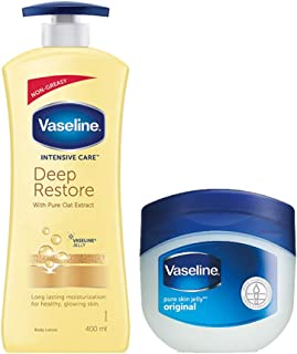 Vaseline Intensive Care Deep Restore Body Lotion, 400 ml with Original Pure Skin Jelly, 100 ml