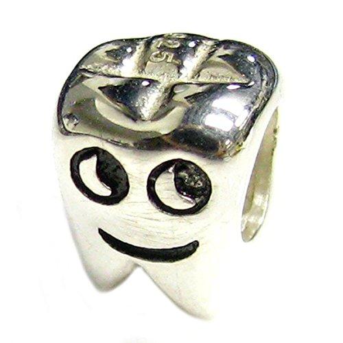 Queenberry - Abalorio de plata de ley, diseño de diente sonriente
