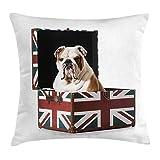 N/A English Bulldog Throw Pillow Cushion Cover, Cute Bulldog Sitting in Union Jack Britain Themed Box Patriotic Design, Decorative Square Accent Pillow Case, 18 X 18 Inches, Multicolor