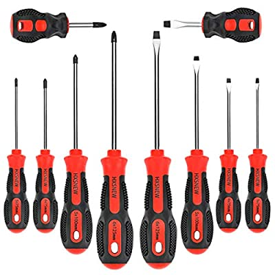 HXSNEW Magnetic Screwdriver Set 10 PCS,5 Phillips and 5 Flat Head Screwdriver Non-Slip for Repair Home Improvement Craft (Red) by HXSNEW