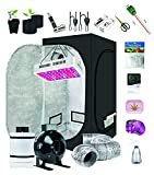 """Supergrower Indoor Grow Tent + 600W LED Full Spectrum Grow Light Complete Kits for Indoor Plants 4 Inch Fan and Filter Ventilation System Inlcuded (4"""" Fan Filter+600W LED Light+Grow Tent 32"""" X32""""X60)"""