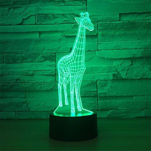 LT&NT Lampe 3D Deer Illusion d'Optique LED Lights Table Lampe veilleuse 7 Couleurs changeantes USB Tactile Distant noël Cadeaux d'Anniversaire pour Les Enfants -Touch + Télécommande