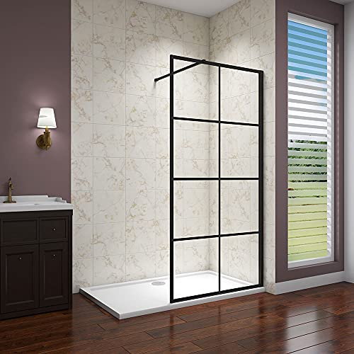 Acezanble 1200x1850mm Black Walk in Wet Room Shower Enclosure 8mm Nano Glass Screen with 1700x900mm Shower Tray
