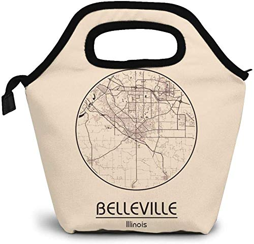 City Map in USA Belleville Illinois North America Insulated Lunch Bag Custom Bento Box Picnic Cooler Portable Handbag Lunch Tote Bag for Women Girl Men Boy