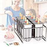GJCrafts - Stampi per ghiaccioli e ghiaccioli in acciaio INOX ecologici, 100 bastoncini di bambù riutilizzabili + 1 rastrelliera