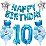 Ouceanwin 15 Cumpleaños Decoraciones Azul, Gigante Globos Numeros 15, Bandera de Globos Happy Birthday, Globos de Confeti, 15 años Fiesta de Cumpleaños Kit para Niño Niños